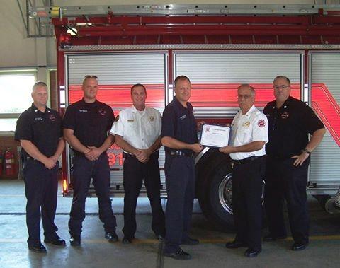Left to Right: Lieutenant Tim Metcalf, Firefighter A.J. Tackett, Asst. Chief Matt Kulesza, Firefighter John Stroud, Chief Joe Holomy and Captain Jim Charters