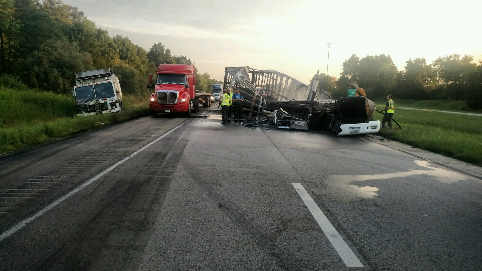 Wreckage from and earlier crash on I-57. Use caution when passing on the highway!