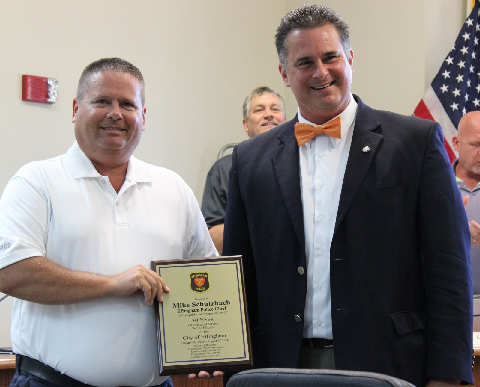 Left: Retired Police Chief Mike Schutzbach; Right Effingham Mayor Jeff Bloemker