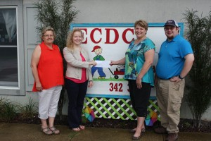 Pictured (L-R): Diane Siemer and Katie Siemer (Siemer Milling Company), Shelli French (ECDC Director) and Henry Siemer (Siemer Milling Company)