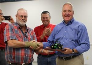 Effingham County Farm Bureau President Kent Mellendorf endorses Congressman John Shimkus on Monday.
