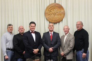 Pictured (L-R) City Commissioners Kevin Esker, Kevin Willis, Mayor Jeff Bloemker, Police Chief Jeff Fuesting, Commissioners Merv Gillenwater, Don Althoff.