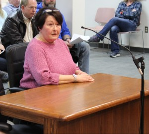Rollin Hills resident Karen Cheatum discusses concerns with the Fayette Ave. Speedway project.