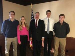 Pictured left to right above: Charles Goss of Sullivan (USAFA), Grace Zeller of Effingham (USMA), Shimkus, Gabriel Oetting of Charleston (USNA), and Christopher Henson of Flora (USNA).