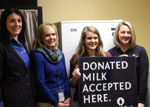 PICTURED L-R) Sarah Long, Milk BankDirector of Clinical Operations; Melanie Eaden, Illinois Department of Human Services; Emilee Kistler, Peer Coordinator - Health Department; Lauren Duncan, Donor Mother Coordinator -The Milk Bank
